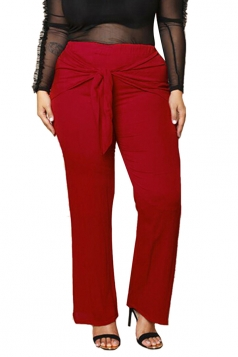 Womens Plus Size Bow Bandage Ankle Length Plain Leisure Pants Red