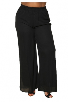 Womens Plus Size Ankle Length Oversized Plain Leisure Pants Black
