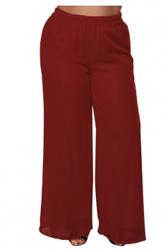 Womens Plus Size Ankle Length Oversized Plain Leisure Pants Red