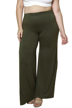 Womens Casual Plus Size Ankle Length Plain Leisure Pants Army Green