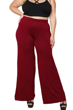 Womens Casual Plus Size Ankle Length Plain Leisure Pants Red