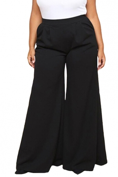 Womens Plus Size Pockets Ankle Length Oversized Leisure Pants Black