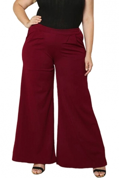 Womens Plus Size Pockets Ankle Length Oversized Leisure Pants Ruby