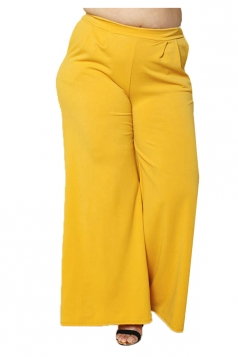 Womens Plus Size Pockets Ankle Length Oversized Leisure Pants Yellow