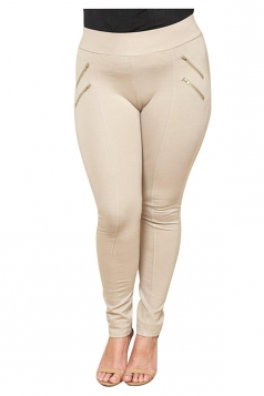 Womens Plus Size Zipper Close-Fitting Plain Leisure Pants Apricot