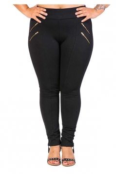 Womens Plus Size Zipper Close-Fitting Plain Leisure Pants Black