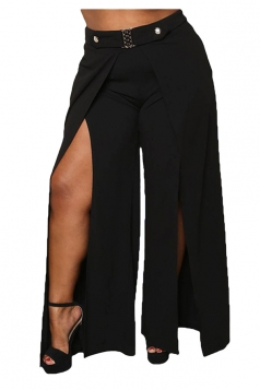 Womens Sexy Rhinestones Plus Size Side Slit Plain Leisure Pants Black