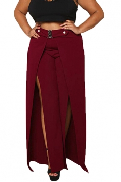 Womens Sexy Rhinestones Plus Size Side Slit Plain Leisure Pants Ruby