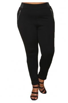 Womens Plus Size Zippers Ankle Length Plain Leisure Pants Black