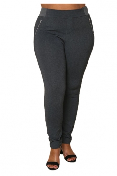 Womens Plus Size Zippers Ankle Length Plain Leisure Pants Dark Gray