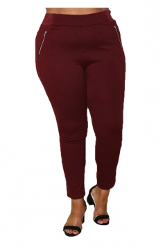 Womens Plus Size Zippers Ankle Length Plain Leisure Pants Ruby