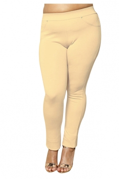 Womens Plus Size Ankle Length Pocket Studded Leisure Pants Apricot
