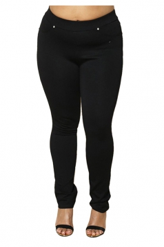 Womens Plus Size Ankle Length Pocket Studded Plain Leisure Pants Black