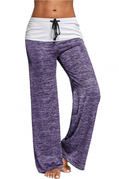 Womens High Waisted Drawstring Oversized Hem Leisure Pants Purple