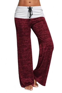Womens High Waisted Drawstring Oversized Hem Leisure Pants Ruby