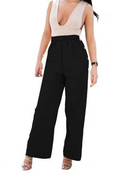 Womens High Waist Wide Legs Button Design Plain Leisure Pants Black
