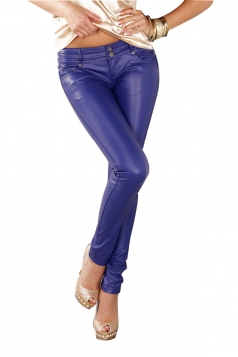 Womes Elegant Low Waist Skinny Plain Pu Leather Leggings Blue