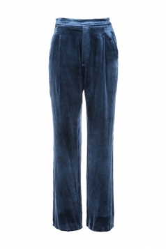 Womens Elegant Slant Porket Wide Legs Velvet Leisure Pants Blue
