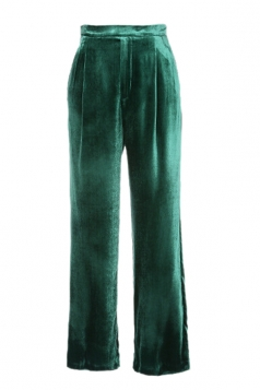 Womens Elegant Slant Porket Wide Legs Velvet Leisure Pants Green