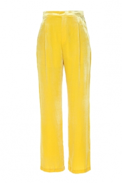 Womens Elegant Slant Porket Wide Legs Velvet Leisure Pants Yellow