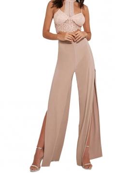 Womens Sexy High Waist Slit Wide Legs Long Lesuire Pants Pink