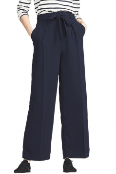 Womens Drawstring High Waist Wide Legs Porket Leisure Pants Black Navy Blue