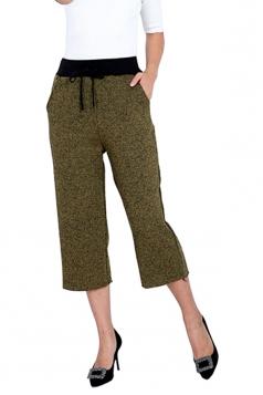 Drawstring High Waist Wide Legs 3/4 Length Leisure Pants Army Green