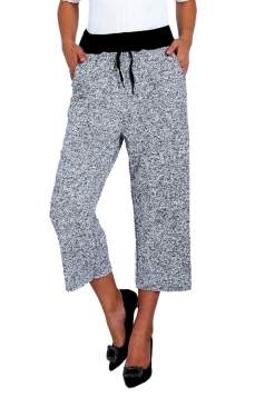 Drawstring High Waist Wide Legs 3/4 Length Leisure Pants Light Gray