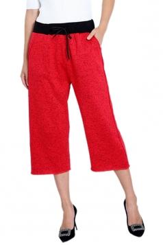 Womens Drawstring High Waist Wide Legs 3/4 Length Leisure Pants Red