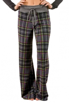 Womens Plaid Drawstring High Waist Wide Legs Long Leisure Pants Gray