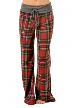 Womens Plaid Drawstring High Waist Wide Legs Long Leisure Pants Red