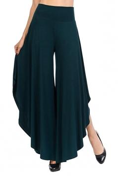 Womens Wide Legs Ruffle Asymmetrical Hem Leisure Pants Dark Green