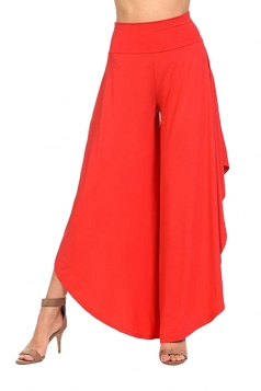 Womens Fashion Wide Legs Ruffle Asymmetrical Hem Leisure Pants Red