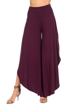 Womens Fashion Wide Legs Ruffle Asymmetrical Hem Leisure Pants Ruby
