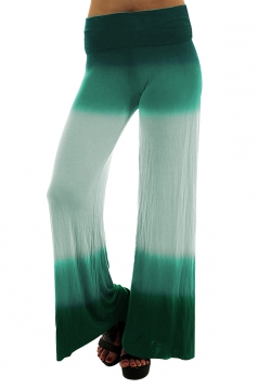 Womens Fashion High Waist Color Block Wide Legs Leisure Pants Gray