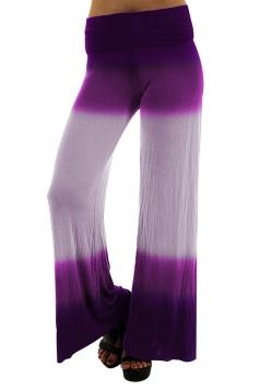 Womens Fashion High Waist Color Block Wide Legs Leisure Pants Purple