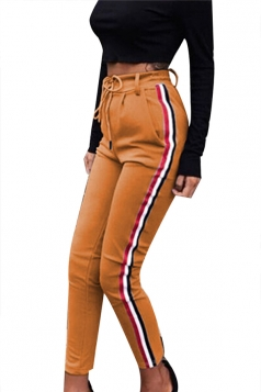 Womens Drawstring Elastic High Waist Stripe Sport Leisure Pants Khaki