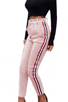 Womens Drawstring Elastic High Waist Stripe Sport Leisure Pants Pink