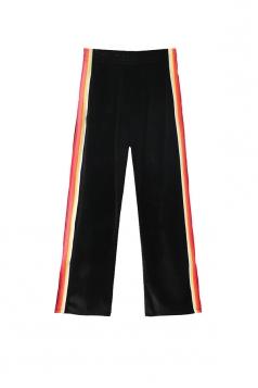 Elastic Color Block High Waist Wide Legs Velvet Leisure Pants Black