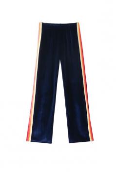 Womens Color Block High Waist Wide Legs Velvet Leisure Pants Navy Blue