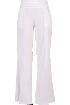 Womens Elegant High Waist Wide Legs With Pocket Leisure Pants White