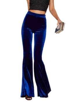 Womens Elegant High Waist Bell Bottom Velvet Leisure Pants Navy Blue