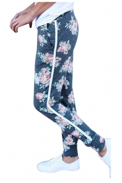 Elastic Floral Printed With Pocket Yoga Sport Leggings Light Blue