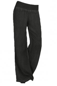 Womens Oversised High Waist Wide Legs Plain Leisure Pants Black