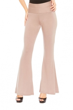 Womens Elastic Skinny High Waist Plain Leisure Bell Pants Apricot