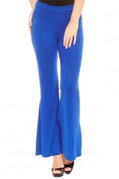 Womens Elastic Skinny High Waist Plain Leisure Bell Pants Blue