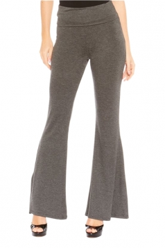 Womens Elastic Skinny High Waist Plain Leisure Bell Pants Gray