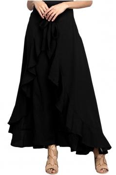 High Waist Bandage Ruffle Asymmetrical Hem Leisure Pants Black