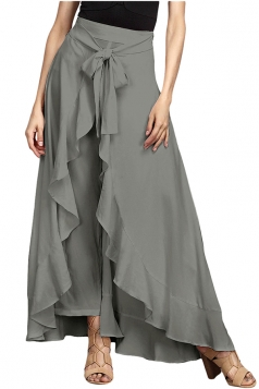 Womens High Waist Bandage Ruffle Asymmetrical Hem Leisure Pants Gray