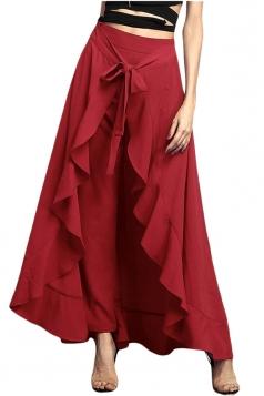 Womens High Waist Bandage Ruffle Asymmetrical Hem Leisure Pants Ruby